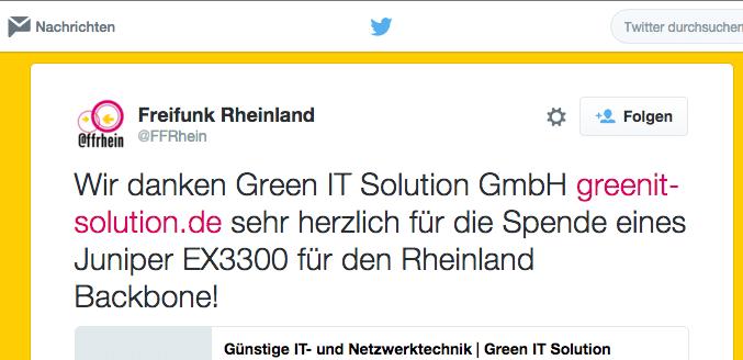 Green IT spendet ein Juniper EX3300-24T Gerät