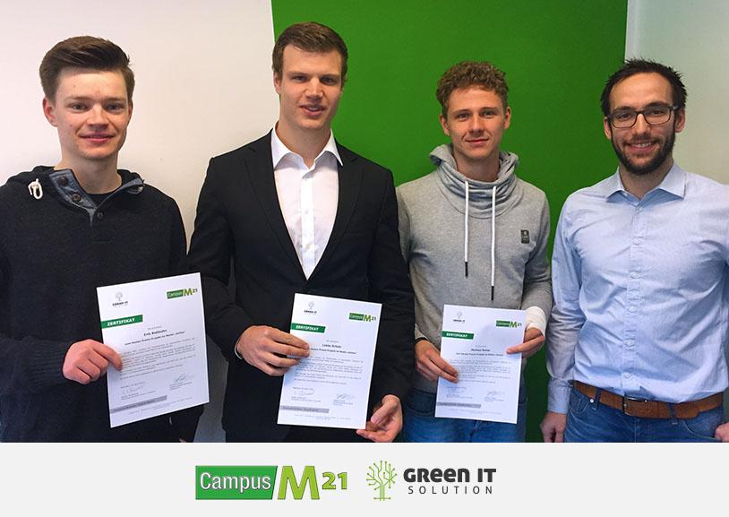 Campus M21 und die Green IT Solution GmbH mit den Proektgewinnern Michael Reiter, Lukas Scholz, Erik Rehbehn