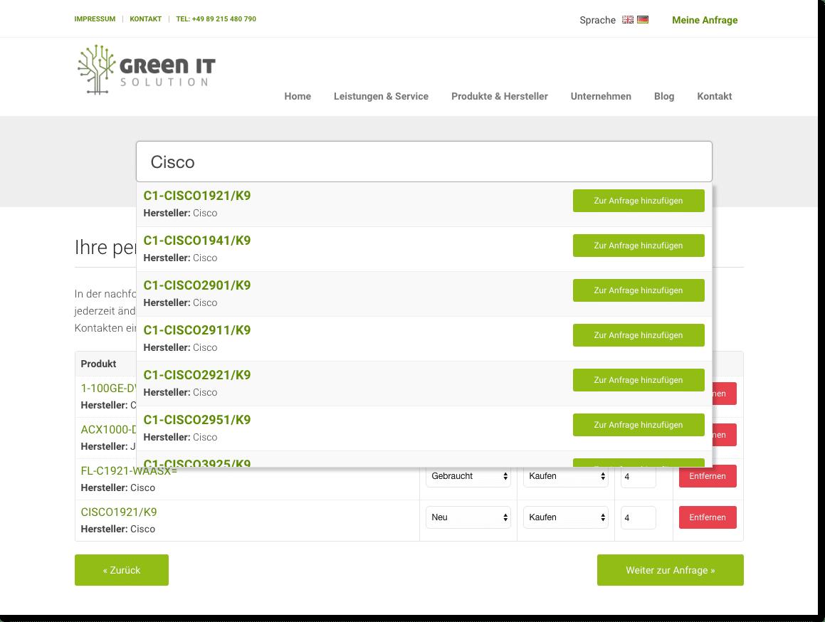 Vorstellung der Online-Anfrage der Green IT Solution GmbH